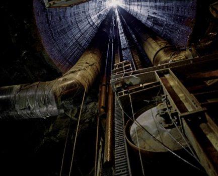 Looking up shaft, 800 ft underground, 2006
