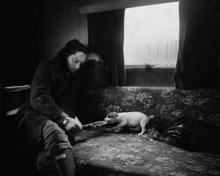 Alice and the little dog, Lynemouth, Northumberland, 1983