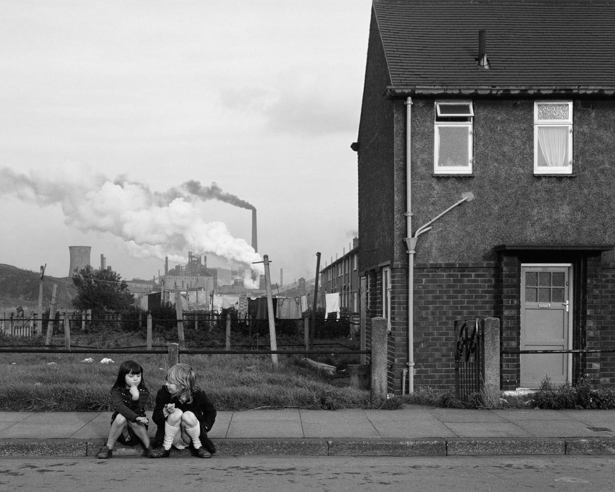 Two girls, Grangetown, Middlesbrough, Teesside, 1975