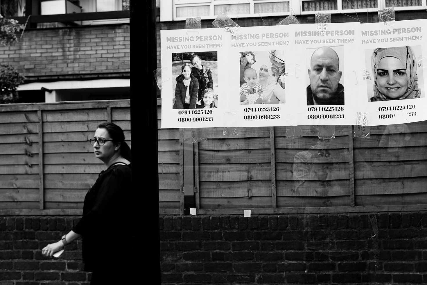 Posters for the missing, Bramley Road.