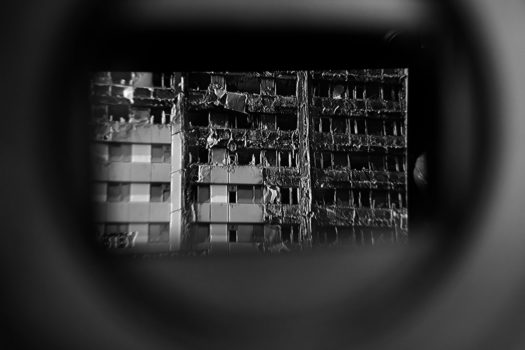 Close up of Grenfell Tower seen through a TV camera eyepiece.