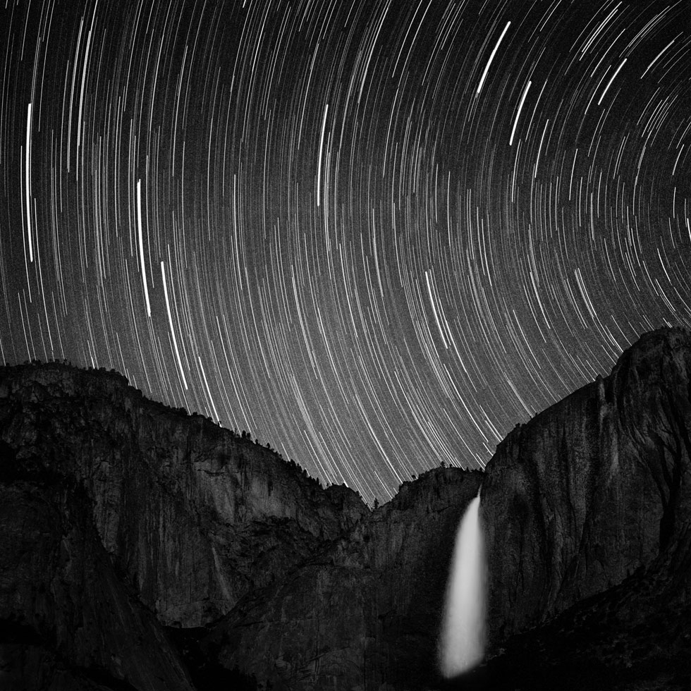 Star Tracks Over Yosemite Falls