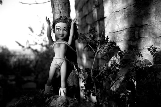 A doll strung to a tree. People believe this will remove negative energies from their home and family.