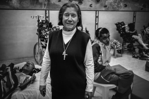 Sister Valeriana who founded a permanent home in Bogotá, 'Luz Y Vida,' for 180 severely handicapped children, in 1991.
