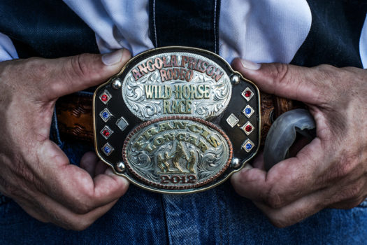 Joe owns the 2012 Angola Prison Rodeo buckle.
