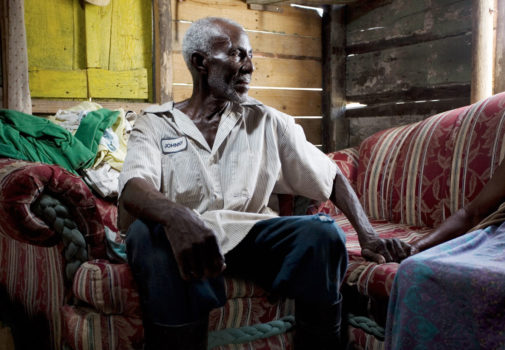 Dato, 71, and his wife, were born in Haiti. In 1970, he came to cut sugar cane in the Dominican Republic. Shortly after, he sent a guagua (minibus) to bring his wife to join him in the new, prosperous country. They have been married for more than 50 years and now live with their 6-year-old grandchild.
