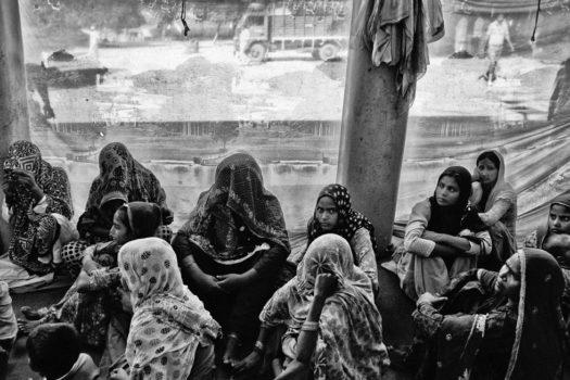 Muslim women in a refugee camp in Muzaffarnagar.