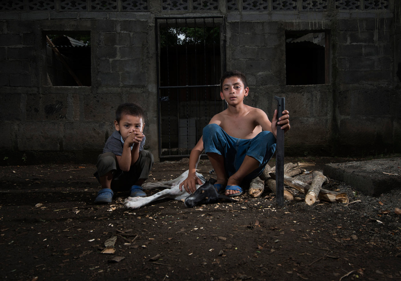 """Tipitapa, Nicaragua, 2012 """"Bryan is 12 years old and started using a machete at the age of five. He makes 80 cents for half-a-day's work clearing weeds around trees. Here, he poses with his dog, Camilla, and younger brother, Jonathan, as he chops firewood for the family."""""""