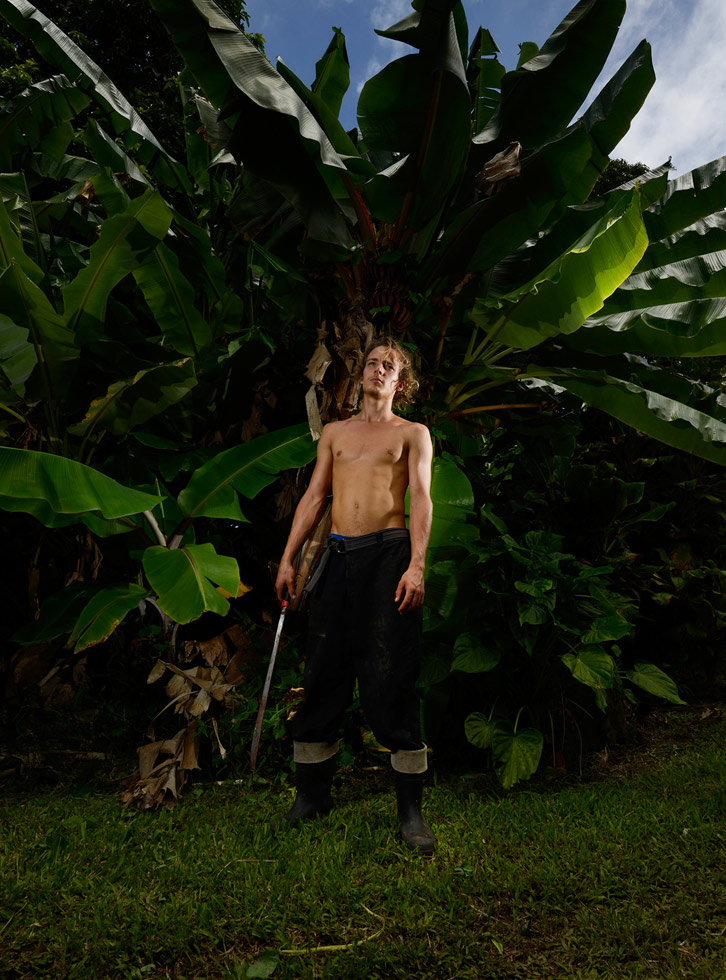 "Hana, Maui, Hawaii, 2013 ""Graf, 20 years old, is originally from Texas, but works seasonally at an organic farm that grows a variety of produce, including apples, bananas, papaya, pineapple, mango and avocado."""