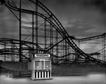 """Casino Pier, the 'Jet Star,' 2009. One of several stunning images of the Jersey Shore from Michael Massaia's series 'Afterlife,' in which he makes long exposures at night when """"the sun is not dictating the shadows,"""" and there's nobody around."""