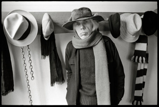 """Hats, Scarves and a Chain,"" March 21, 1976. One of Abe Frajndlich's portraits of Minor White, taken at White's home and workshop, 203 Park Avenue, Arlington Heights, Massachusetts, three months before he died on June 24th."