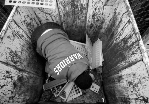 Denise dives inside dumpsters to retrieve each and every piece of precious metal she can find. If she is lucky she will find a full bin of items that have iron and copper to resell to recycling centers.