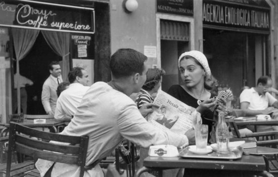 """Jinx Flirting  """"My mother, Ruth Orkin, had many loves. Photography and travel were two of them. In 1951, Life sent her on assignment to Israel. From there she went to Italy, and it was in Florence that she met Jinx Allen (now known as Ninalee Craig), a painter and fellow American."""""""