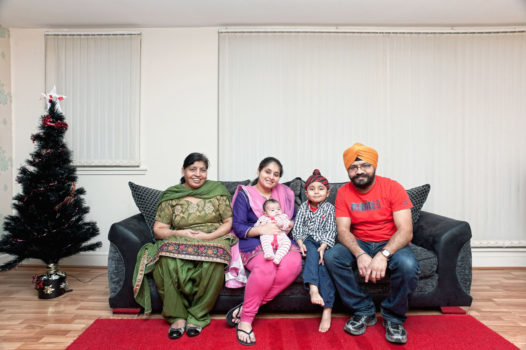 Meet Gurinder and Harpreet and family (Edinburgh, 2012) Sikh communities in Scotland have a long history, stretching back to the 19th century when the first families arrived from India. Scottish Sikhs have their own tartan and are often to be found wearing kilts on special occasions.