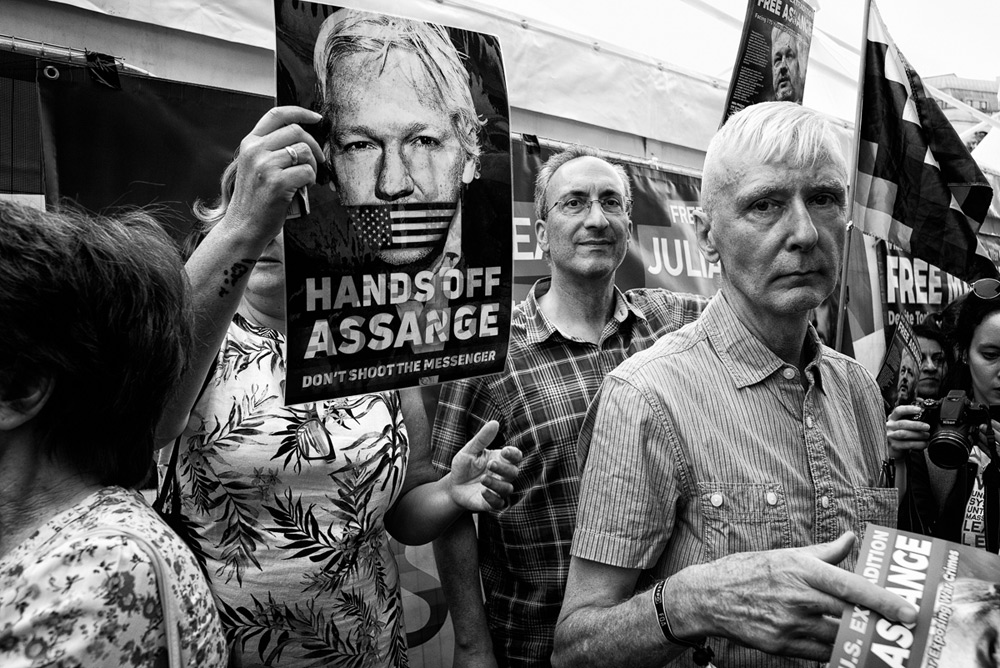 Free Assange demonstration, London, 2019