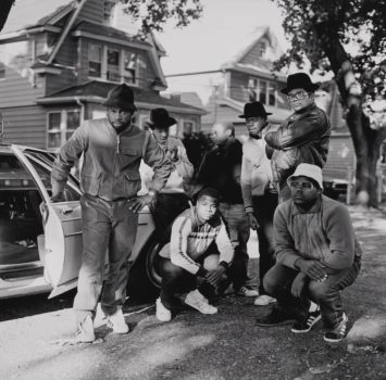 """Janette Beckman  """"RUN DMC with Posse, Hollis, Queens"""" 1984 (printed later)   Archival pigment print. Museum of the City of New York. Gift of Janette Beckman."""