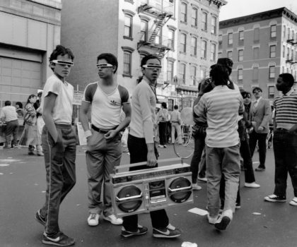 """On view at the Museum of the City of New York through December 2020.  Morris Engel """"Boys with Boom Box, 14th Street"""" 1983  Gelatin silver print. Museum of the City of New York. Gift of Orkin/Engel Film and Photo Archive"""