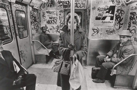 """Richard Sandler    """"CC Train, New York"""" 1985 (printed later)  Gelatin silver print. Museum of the City of New York. Gift of Richard Sandler."""