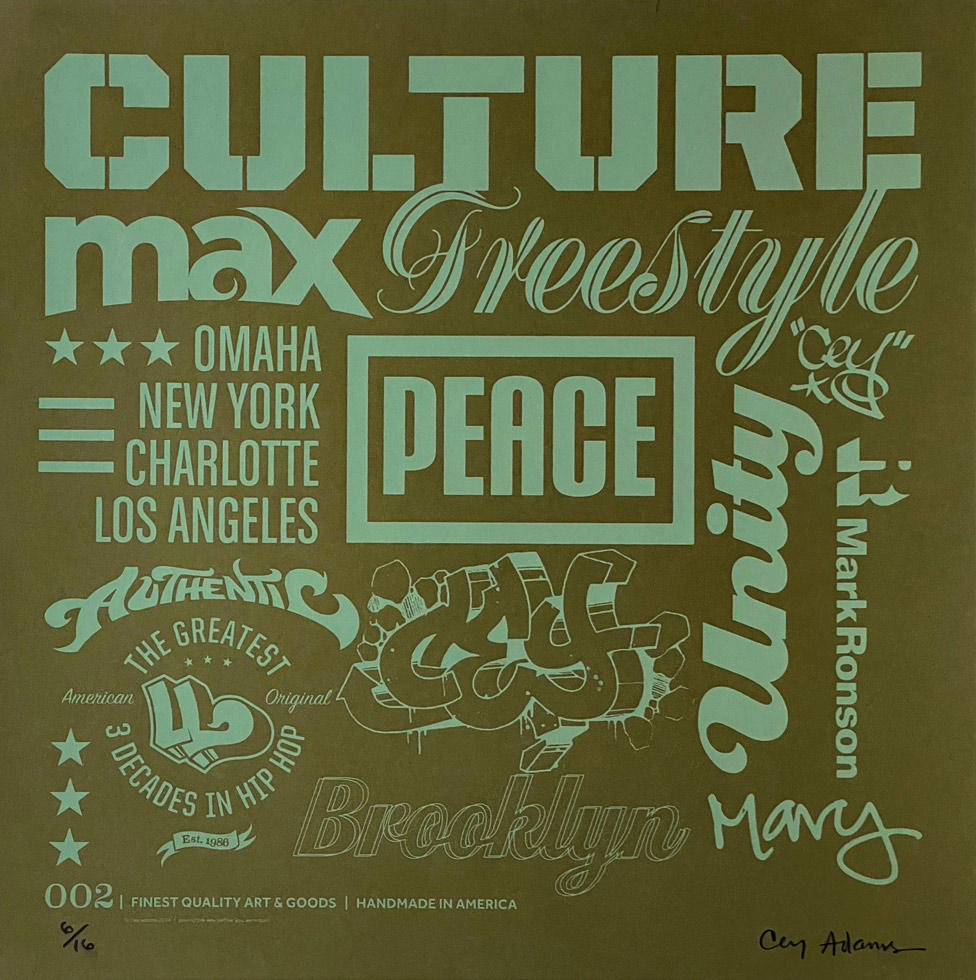 """""""Culture"""" by Cey Adams. 18""""x18"""" silkscreen print, signed, editioned 6/16.$200 donation @ceyadams"""