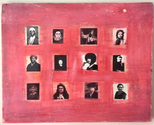 """""""Ain't I a Woman: Heroes of the Revolution"""" by KC Witherell. 10""""x8"""" handmade gesso on board. Glue, pigment, laser prints, signed. $200 donationSOLD  @kcwitherell"""