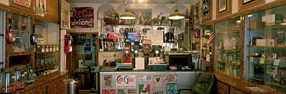 """Larry Racioppo """"I was struggling to find my way as an artist in the mid 1970's. Being chosen to participate in the CCF CETA Artists Program was a big break for me financially and emotionally.""""Nicoletti Brothers Coffee, 13th Avenue, Brooklyn, 2016"""