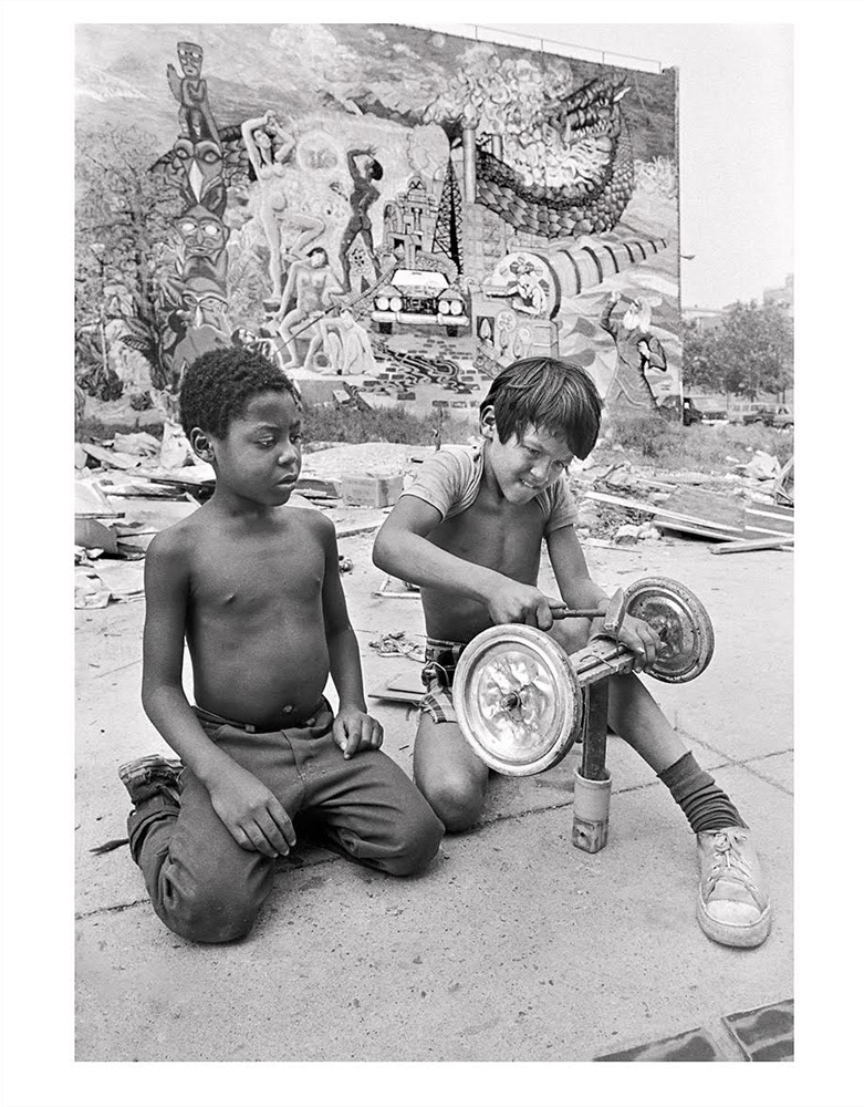 "Two boys making a go-cart, Rivington and Chrystie Streets, NYC, 1979, by Martha Cooper. 11""x14"" archival digital print, signed and framed.$200 donationSOLD 