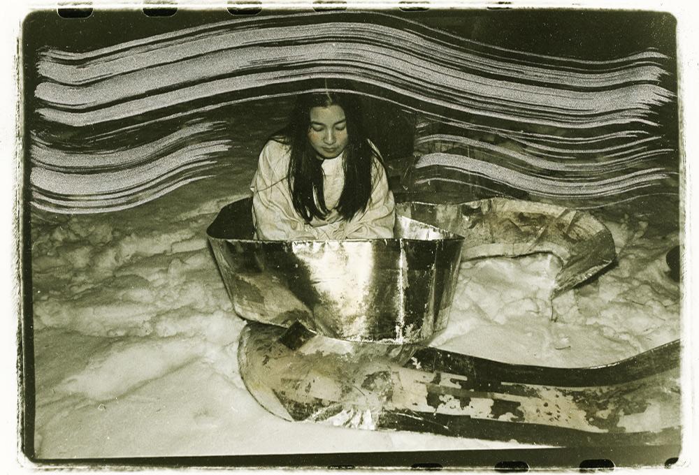 """""""Girl Mylar Snow,""""b&w analog photo + silver ink, 1978, by Nina Kuo"""