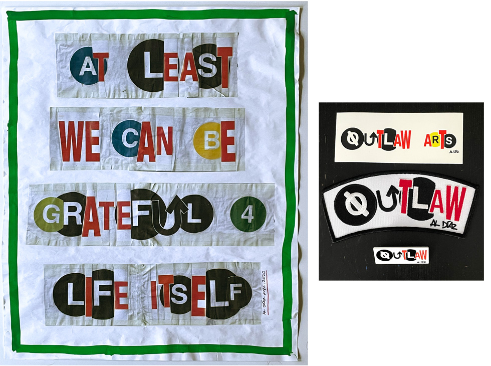 """""""At least we can be grateful 4 life itself"""" by Al Diaz. 24""""x20"""" original art, collage and paint, signed, editioned 1/1. Comes with patch (6""""), sticker (5"""") and pin (2""""), by Outlaw Arts. $200 donationSOLD  @outlaw_arts"""