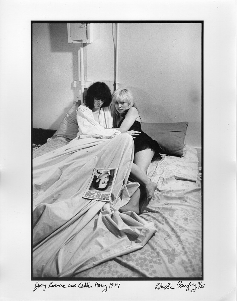 """Joey Ramone and Debbie Harry, 1977, by Roberta Bayley. 11""""x14"""" silver gelatin fiber print, signed, editioned 3/25. $500 donation SOLD  @bayley1950"""