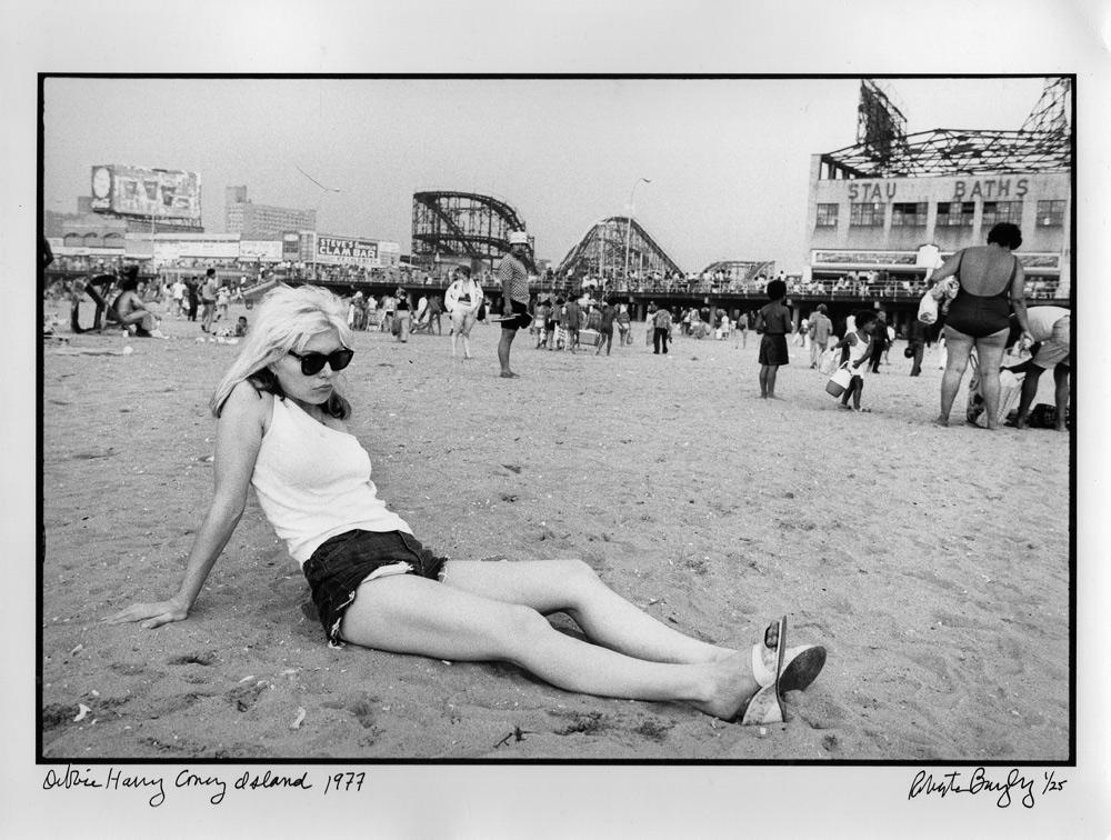 "Debbie Harry, Coney Island, 1977, by Roberta Bayley. 11""x14"" silver gelatin fiber print, signed, editioned 1/25. $500 donationSOLD @bayley1950"