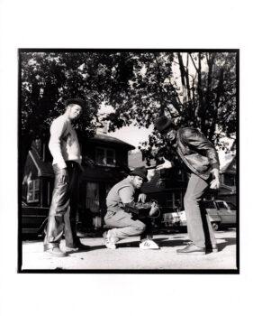 "Run-DMC, Hollis, Queens, 1984, by Janette Beckman. 11""x13.5"" silver gelatin fiber print, signed."