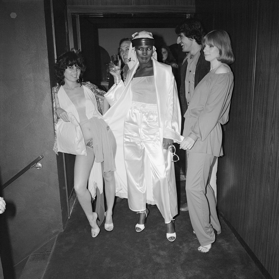 Grace Jones with Judi Jupiter and others, opening night of Farfalle, New York City, 1978