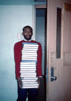 Teacher Carrying Math Books, IS 291, Bushwick, Brooklyn, NY, 1984